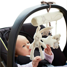 Cute Baby Rattles Mobiles Hanging Bed Stroller Crib Rattles Rabbit Toys Plush Animal Music Doll Bed Bell Early Educational Toys 1pcs baby toys plush soft cute cartoon animal donkey cattle hedgehog dog rhinoceros educational car bed bell crib musical newborn baby rattles toys
