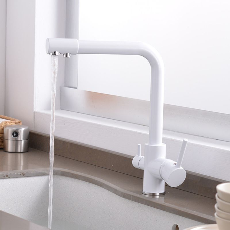 Copper Kitchen Filter Purifier Faucet Antique Three-Use Basin Drinking Water Faucet Container Basin Mixing Faucet White