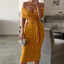 Yellow Women Bodycon Dress Sexy Off Shoulder Party