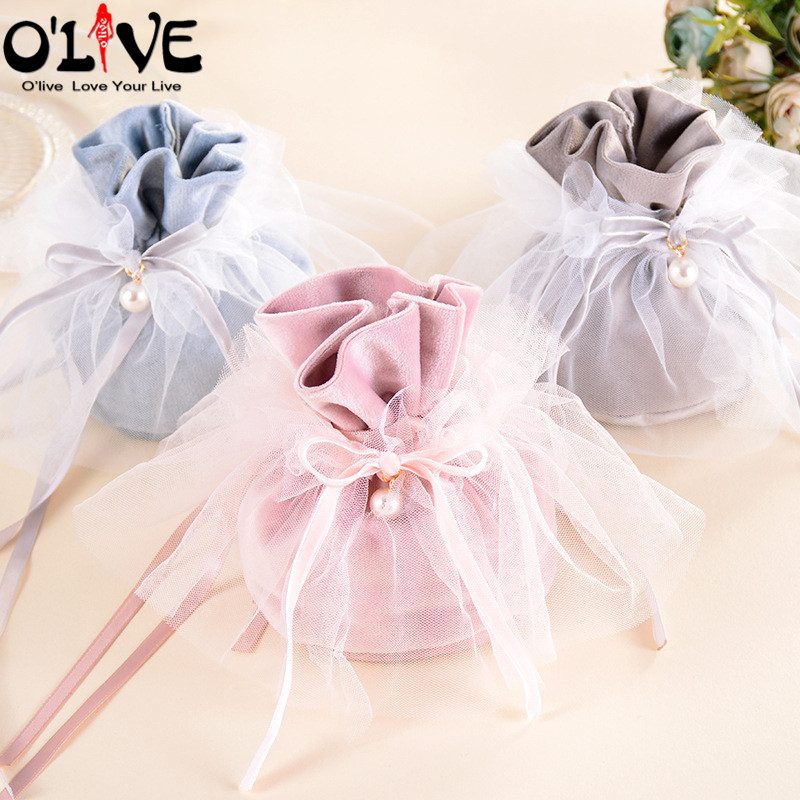 10 Pcs Wedding Gift Bag Organza Sachet Party Bags Drawstring Candy Pouch Packaging Baby Shower Birthday Dragees Bonbonniere