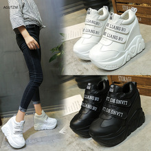 AGUTZM 12 Cm High Wedge Sneakers Woman 2019 Leahter Female Casual Shoes Hook Loop Comfortable Platform Sneakers ankle boot z175 converse kids shoes hoop loop high cut comfortable casual sneakers 654191c ys