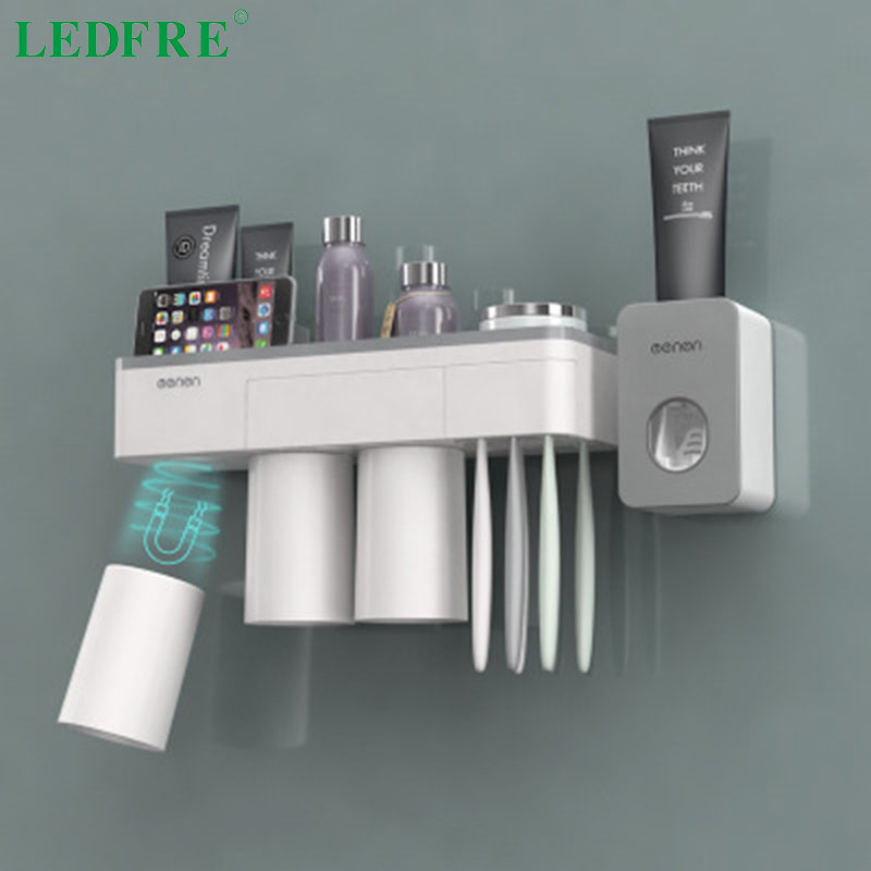 LEDFRE Toothbrush Holder Suction Cup Wall Mounted Toothpaste Squeezer Holder Cleanser Storage Rack Bathroom Accessories Set