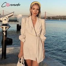 Conmoto, женское модное клетчатое короткое платье, для женщин, 2019, Осень зима, с запахом, на шнуровке, платье мини, Бизнес Стиль, длинный рукав, vestidos