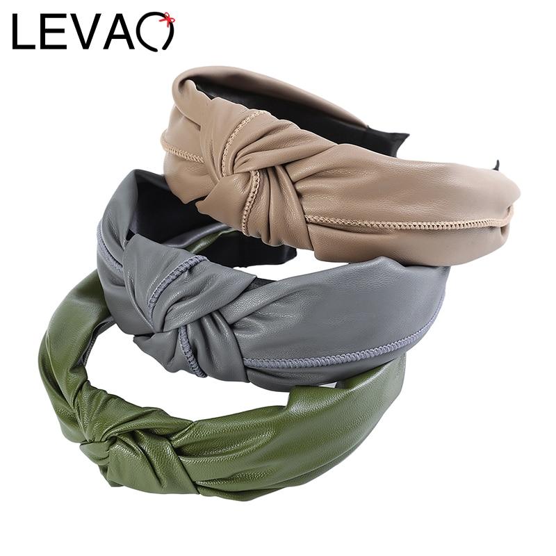 LEVAO Synthetic Leather Headbands Knotted Luxury Hairbands Bezel Turban Boho Women Girls Hair Accessories Headwear Head Hoop