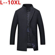 10XL 8X Slanke Mode Enkele Breasted Jas Jas Mannen Business Casual Lange Wollen Winter Keep Warm Heren Jas Mannelijke Merk kleding(China)