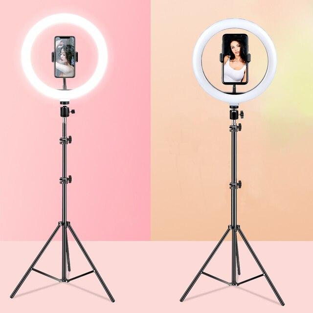 26cm halka ışık LED fotoğraf stüdyosu kısılabilir kamera lambası Video Youtube makyaj VK Selfie ile 160cm Tripod telefon tutucu standı