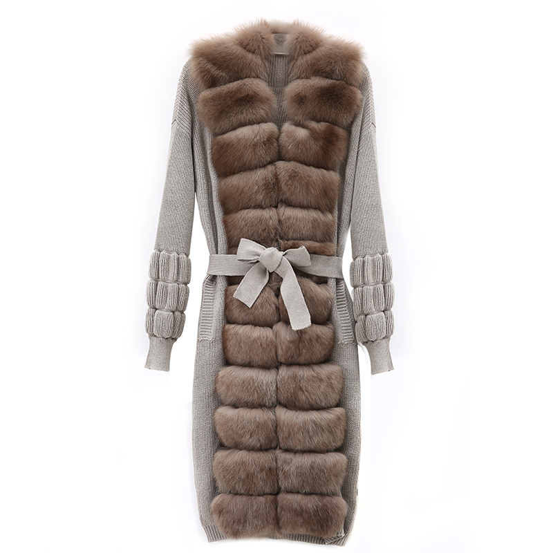 Maylofuer 100% wool sweater leather grass fox fur coat fashion trend commuter women's jacket to keep warm
