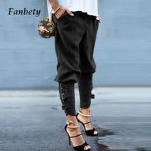 Vintage Décontracté Cravate-Crayon Pantalon Pantalon Mode Solide Lâche Grande Taille Sarouel Femmes Taille Élastique Pantalon Long Streetwear