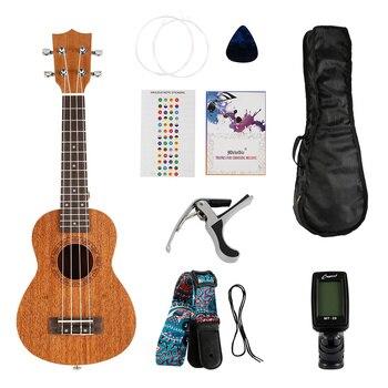 цена на 21 Inch Soprano Ukulele Guitar 4 Strings Hawaiian Guitar Musical Instruments Set Kits Tuner Transpose Clip Strings Brocade Strap