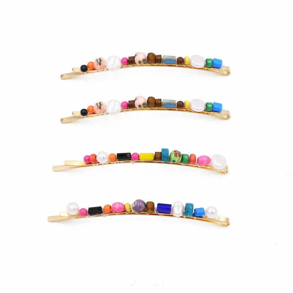 1/4 PC Fashion Buatan Tangan Dikepang Colorful Kayu Beads Jepit Rambut Wanita Imitiation Mutiara BoHo Rambut Aksesoris untuk Anak Perempuan