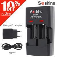 Soshine SC-S5 2 slots li-ion rcr123/rcr2 rápida bateria carregador inteligente com indicador led para 14250/cr2/16340/17335/15266 bateria