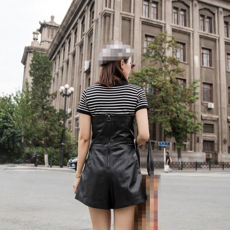 2019 Herfst Winter Nieuwe Slim Fit Real Leather Korte Jumpsuits Vrouwelijke Harajuku Schapenvacht Lederen Wijde Pijpen Speelpakjes Vrouwen - 4