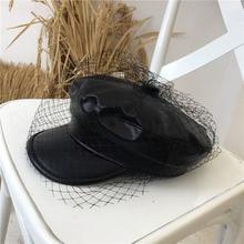 Europe PU Mesh Octagonal Cap Women Solid Black British Vintage Hats Newsboy Caps Beret Painter Elegant Hat Fashion Adult 56-58cm