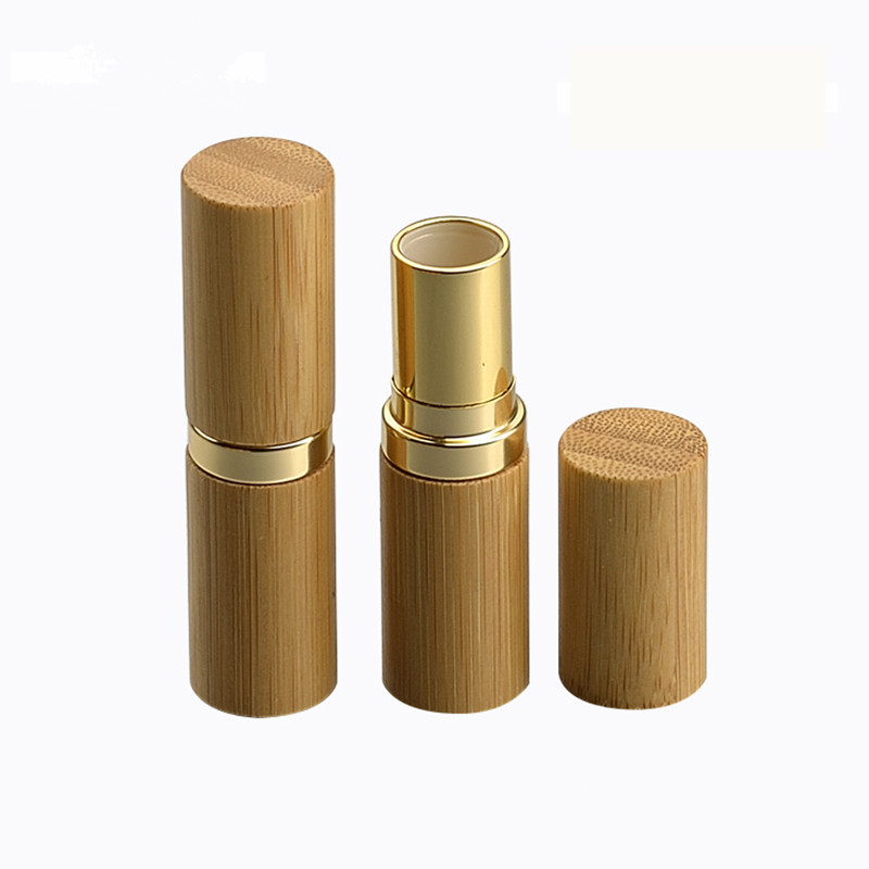 Wholesale 12.1MM Bamboo Empty Lipstick Tubes Container Lipgloss Lip Balm Tubes Bamboo Gold Shell MakeupLip Stick Bottle Tubes image