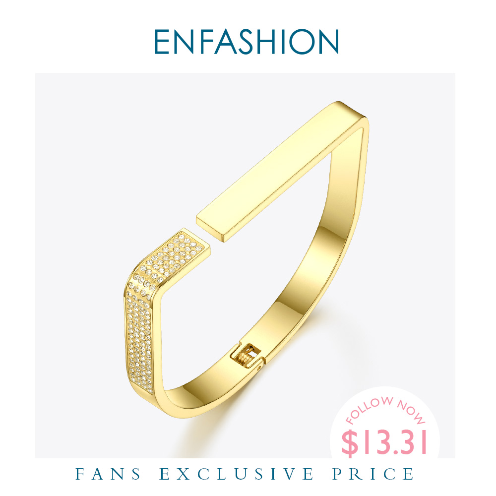 ENFASHION Elegant Crystal D Shape Cuff Bracelets Bangles For Women Gold Color Stainless Steel Open Bangle Fashion Jewelry B2044