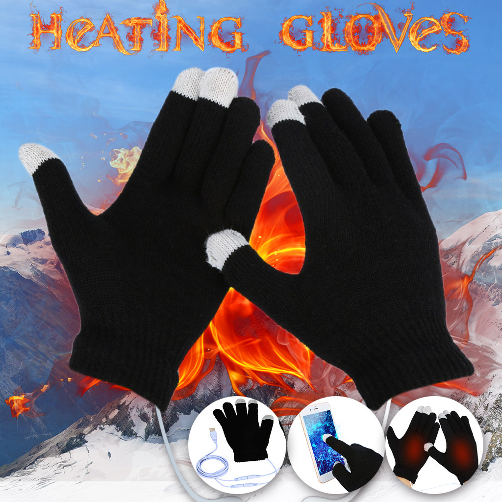 2020 Autumn Winter New USB Warm Hand Heating Gloves Constant Temperature Portable Soft Wearable Winter Touch Screen Gloves #11