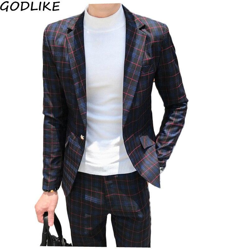 Mens Plaid Suit Ankle Length Costume Homme Mariage Cofee Blue Stripe Check Elegant Trajes De Hombre Novio Plaid Suit For Men