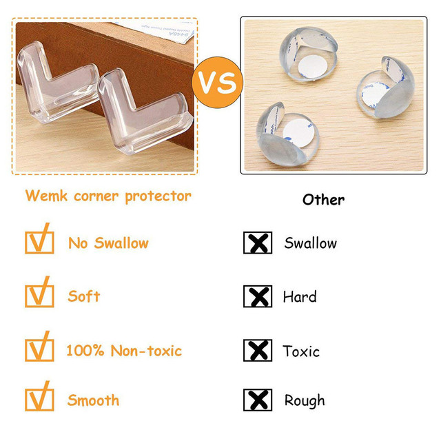 12Pcs Corner Guards Baby Safety L Shape Transparent Protector Cover Children Protection Furnitures Edge Corner Guards Cover 4