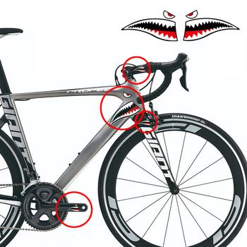 1Pc rower Shark główka ramy naklejki rowerowe naklejka dekoracyjna rower równowagi naklejki mały rekin naklejki tanie i dobre opinie