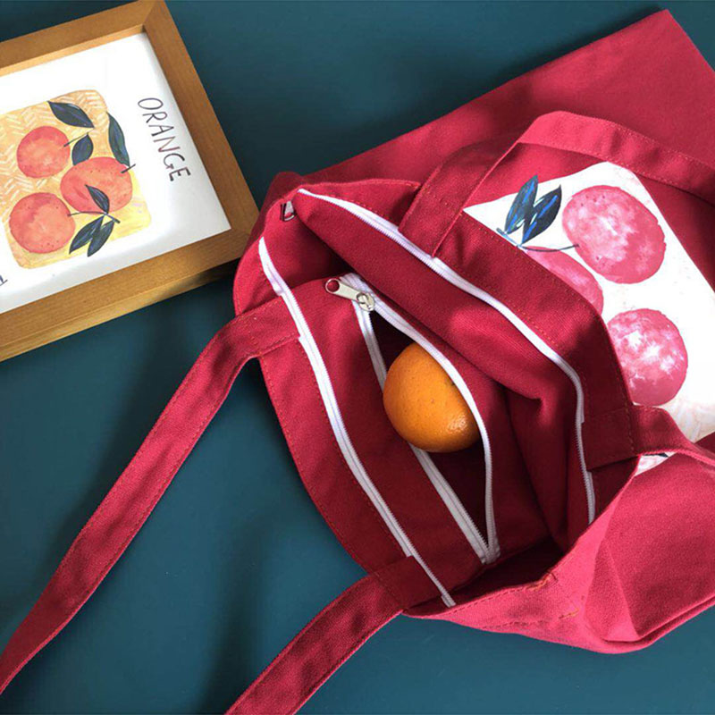 Women Lady Shoulder Bag Orange Printing Canvas For Mobile Phone Keys Money Travel H66
