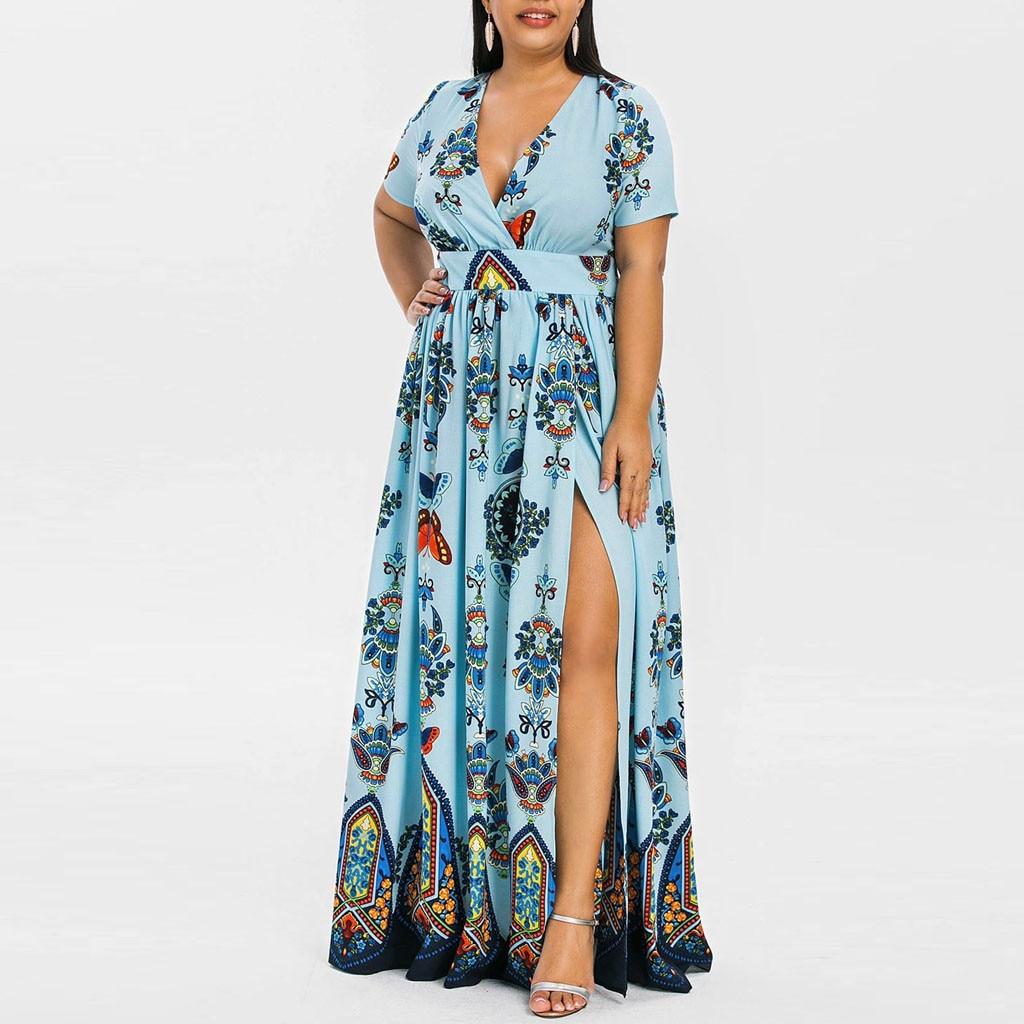 Plus Size XL Women Butterfly Printed V Neck Short Sleeve Casual Maxi Long Dress Vestidos Plus