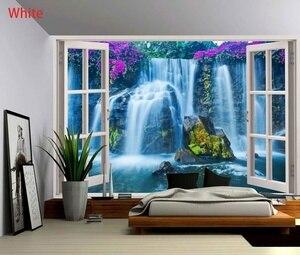 Пляжная парусная лодка, кокосовое дерево, пейзаж, гобелен, настенный гобелен, Настенный декор для спальни, окна, настенный гобелен, фон