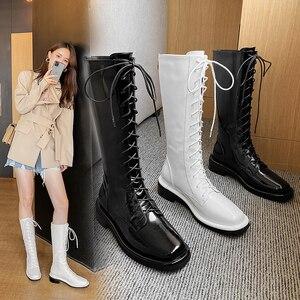 Botas de couro genuíno botas de salto alto mulheres na altura do joelho botas altas noite club sapatos mulher rendas até botas de motocicleta punk