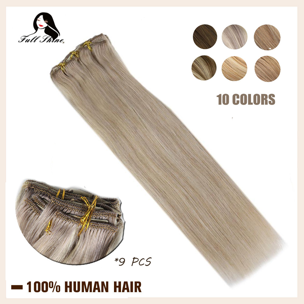 Full Shine Clip In Human Hair Extensions 9Pcs 120gram Balayage Color Ombre Machine Made Remy Human Hair Clip On Double Weft