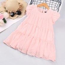 Girls Swiss Dot Layered Ruffle Princess Dress 2021 Summer Child Kids O Neck Puff Sleeve Back Button Pink Cute Dress for Girls
