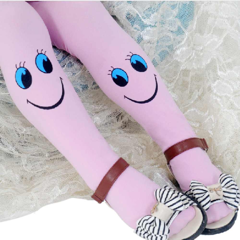 Children Pantyhose Cute Baby Girl Cartoon Tights Dance Candy Girls Stockings Kids Girl 4-9 Years Children Velvet Smiley Tights