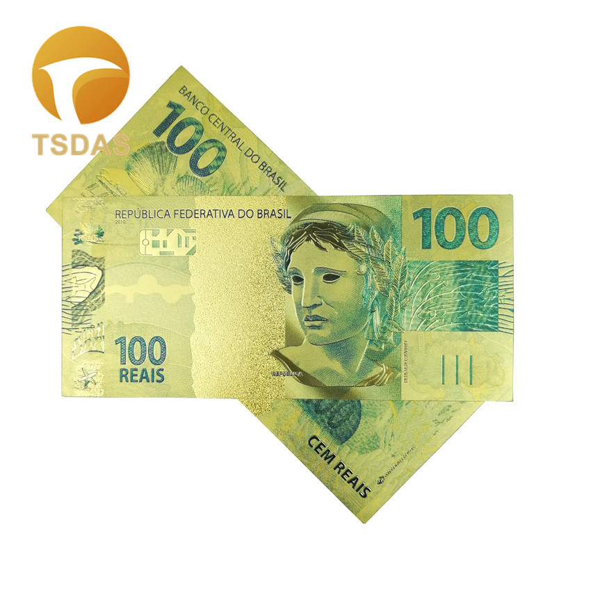 Brazil Banknotes 100 Real Gold Banknote In 24k Gold Plated for Collections Currency Crafts
