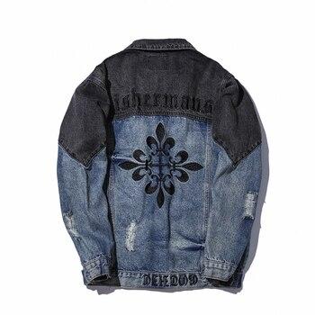 Hole Embroidered Denim Jacket Men Patchwork Hip Hop Streetwear Jackets Korean Styel Trend Brand Slim Fit Coat Male Outwear