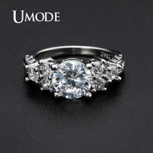 UMODE Engagement Rings for Wedding Bridal Femme Zircon Fashion Crystal Women Silver Color Luxury Jewelry Party UR0530