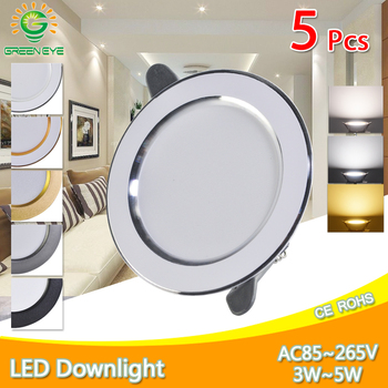 5Pcs downlight led 3w 5w 3000k 4500K 6000K Downlight AC 220V ceiling Kitchen living room Indoor recessed