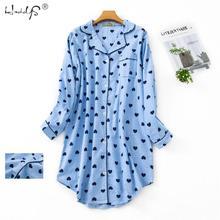 春カジュアル夜女性の綿長袖ネグリジェ特大睡眠シャツ 100% 綿のパジャマ pj 寝間着