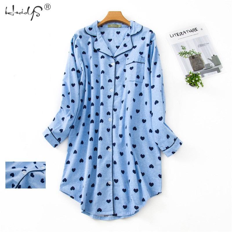 Женская ночная рубашка с длинным рукавом, 100% хлопок