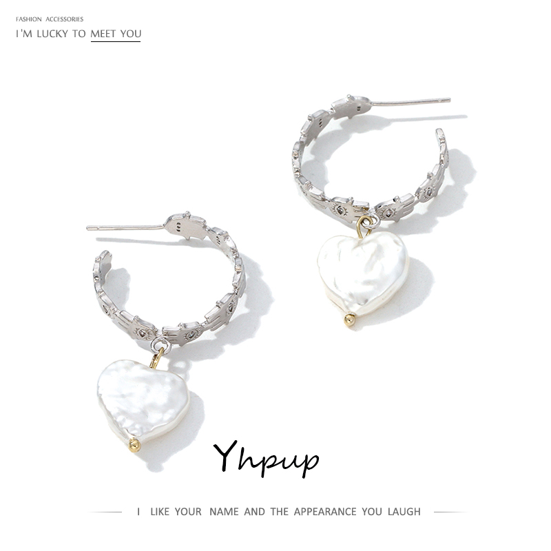 Yhpup Silver Vintage Imitation Pearls Dangle Earrings Simple Design Korean Oorbellen For Female Office Jewelry Pendant S925 Post
