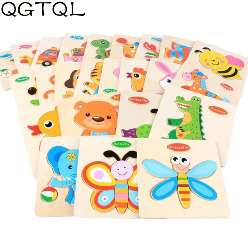 Baby Toys Wooden 3d Puzzle Cute Cartoon Animal Intelligence Kids Educational Brain Teaser Children Tangram Shapes Jigsaw Gifts