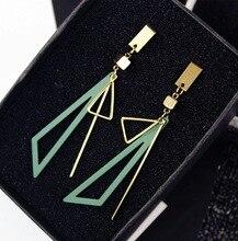 2019 New 925 Silver Needle Simple Geometric Earrings Long Triangle Temperament Dangle Wholesale
