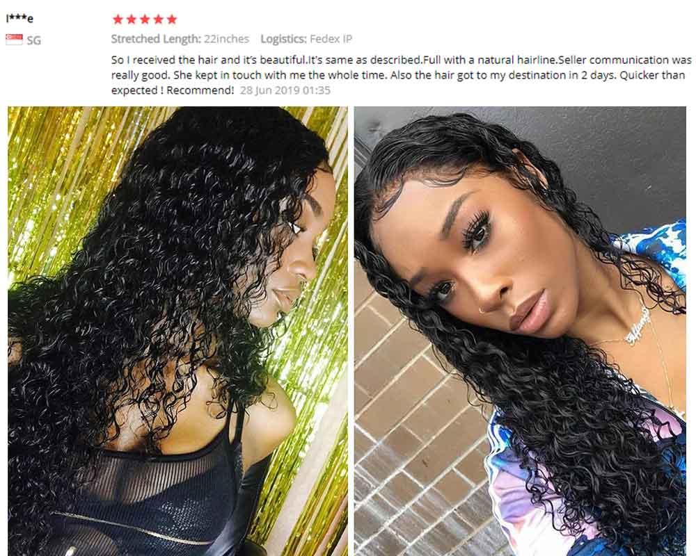 perucas frontal do cabelo humano encaracolado longo