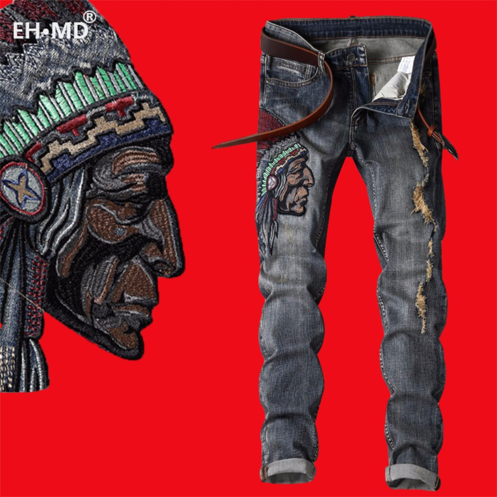 EH·MD® Indian Avatar Embroidered Jeans Men Scratch Long Cracks High Street Pants Soft Red Ears Blue Grey Slim 2020 Western Style