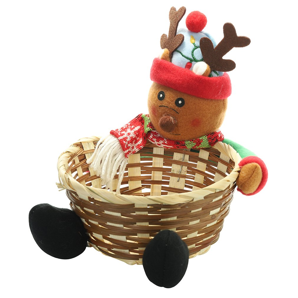 Christmas Fruit Basket Children Xmas Gift Candy Sweet Storage Box Santa ELK Holder