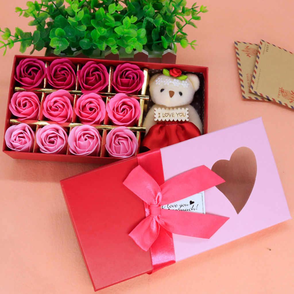 12 pezzi di Sapone Rose Fiore Romantico Giorno di san valentino Sapone Profumato Fiore Regalo Scatola Rosa Bouquet Regalo di Festival Del Partito Decorazione