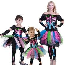 Платье на Хэллоуин, Женский страшный комбинезон, костюм скелета для костюмированной вечеринки, Детский костюм с черепом, комбинезон для маленьких девочек, костюм ведьмы в стиле стимпанк, маскировка дьявола