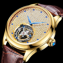 100% Real Tourbillon Mechanical Hand Wind Sapphire Mens Watches Top Brand Luxury Rhinestone Clock men Gold Relogio Masculino