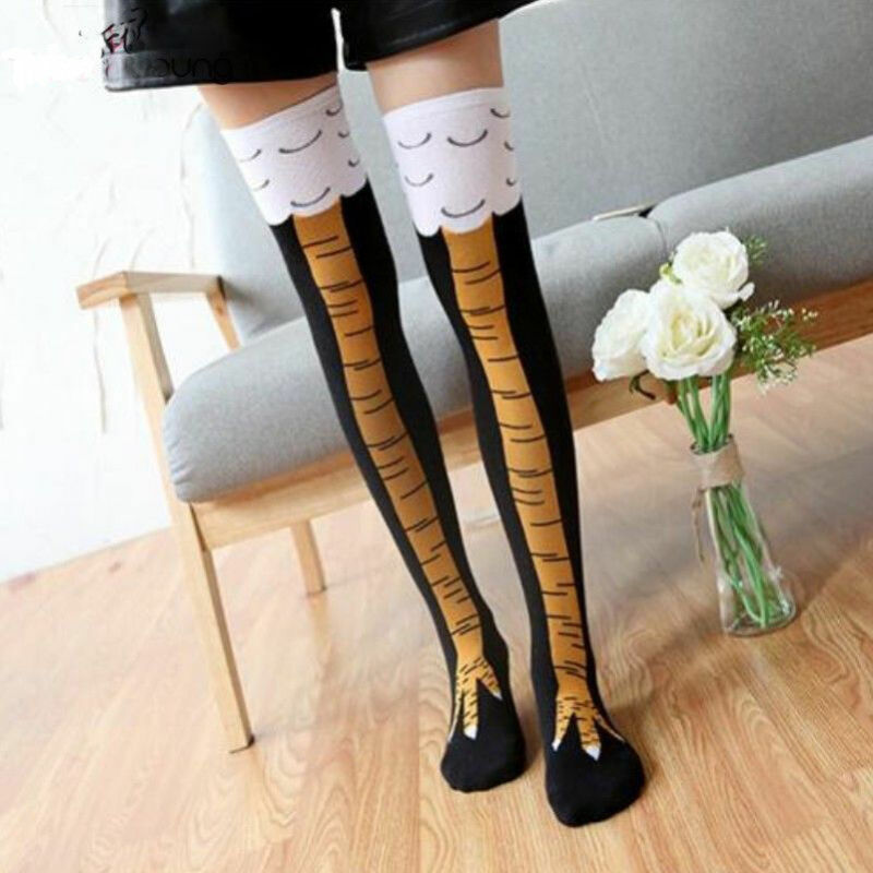 2019 Women Girl Above/Below Knee-High Socks Fashion Cute Chicken Leg Long Thigh Lady Girl Stockings 3D Socks