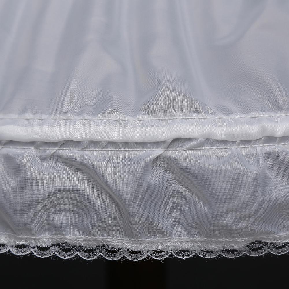 White Children Petticoat A-Line 3 Hoops One Layer Kids Crinoline Lace Trim Flower Girl Dress Underskirt Elastic Waist Length 55C