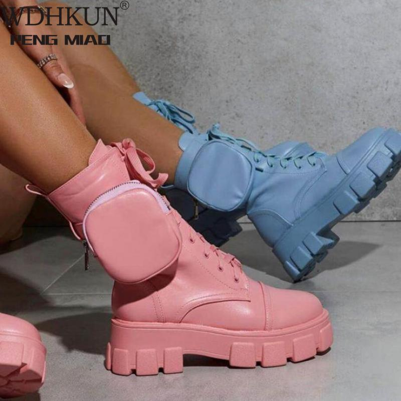 2020 Autumn Winter Bootie Pocket Buckle Strap Pink Chunky Boots Leather Patchwork Arrival Platform Boots Mid-calf Cross-tied