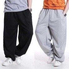 Pantalones de chándal para hombre, ropa informal estilo Hip Hop, pantalón suelto holgado pista corredores, algodón, informal