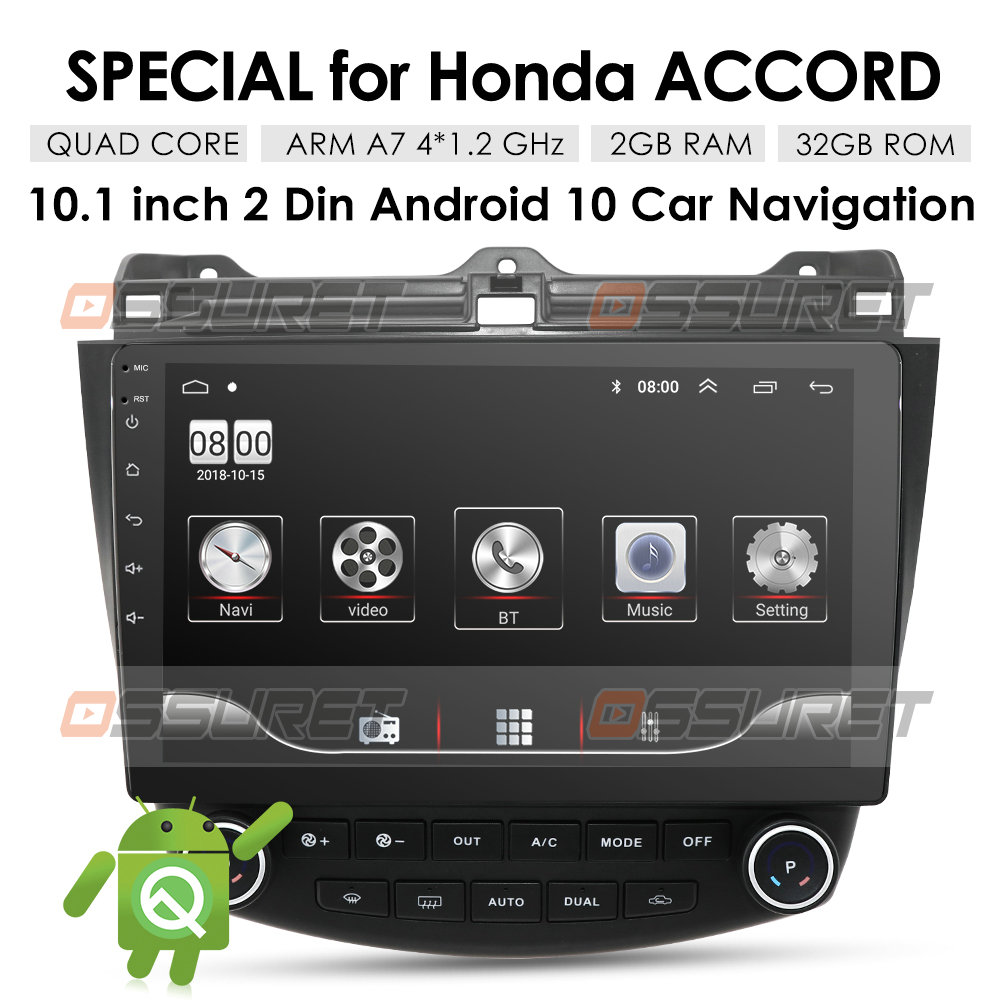 2 Din <font><b>Android</b></font> 10 Quad Core Car <font><b>Radio</b></font> GPS Player for <font><b>Honda</b></font> <font><b>Accord</b></font> 7 2003 <font><b>2004</b></font> 2005 2006 2007 Head Unit Steering Wheel Control image